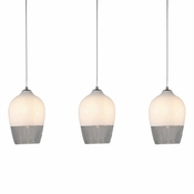 Three Lamp P-A6 Linear Encalmo Chandelier - White & Clear Glass