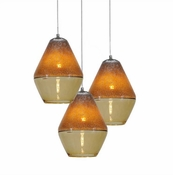 Three P-A1 Lamp Encalmo Chandelier - Amber Glass