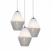 Three P-A1 Lamp Encalmo Chandelier - White & Clear Glass