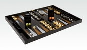Tizo Lacquered Wood Backgammon Set Black & Clear