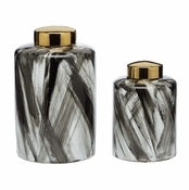 Tozai Home Abstracts Black & White Covered Porcelain Jars - Set of 2