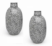 Tozai Home Abstracts Oval Black & White Vases - Set of 2