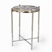 Tozai Home Black Agate Round Side Table