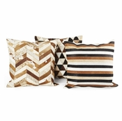 Tozai Home Cowhide Square Pillows - Set of 3