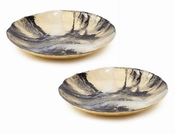 Tozai Home Gold and Black Platter Glass - Set of 2
