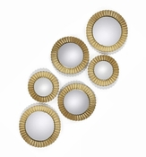 Tozai Home Golden Round Wall Mirrors - Set of 6