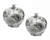 Tozai Home Hand Painted Floral Ceramic Vases - Set of 2