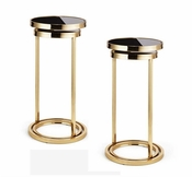 Tozai Home Pair of Black Mirrored Double Nesting Tables
