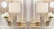 Tozai Home Pair of Mother Of Pearl Table Lamps