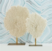 Tozai Home Set of 2 Whte Poly Coral Sculptures