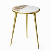 Tozai Home White Marble & Natural Agate Round Table