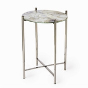Tozai Home White & Natural Agate Round Side Table