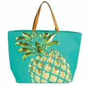 Turquoise Pineapple Sequin Jute Tote Bag - CLOSEOUT