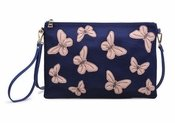 Urban Expressions Papillon Navy Rose Clutch
