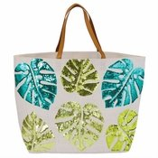 White Palm Sequin Jute Tote Bag - CLOSEOUT