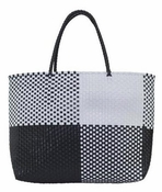 Woven Tote Black Wht - Special Offer