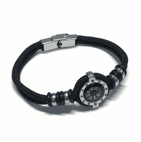 Stainless Paracord Compass Bracelet