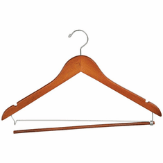 17in. Wishbone Hanger w/ Chrome Hook and Wooden Lock Bar on Spring Matte Teak