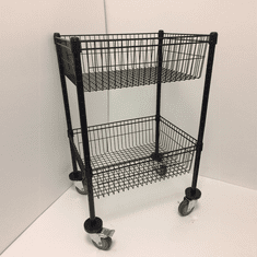 2 Tier Wire Basket Unit Black