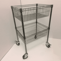 2 Tier Wire Basket Unit Silver