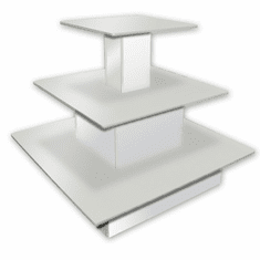3 Tier Square Waterfall Table White