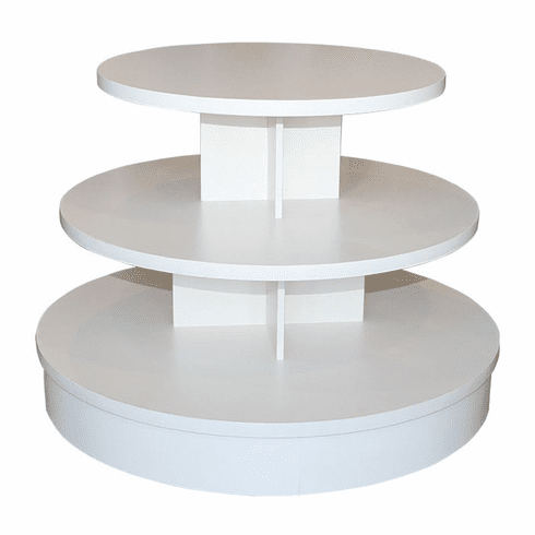 3-Tier White Melamine Round Table