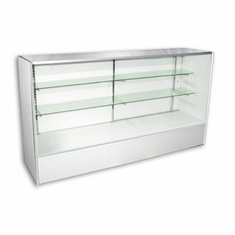 6' Low Cost Full Vision Glass Display Case White