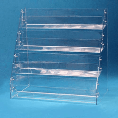 Acrylic Angled-Rack Card Displays 4 Tier