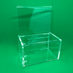 Acrylic Charity Collection Box W/Signholder Quick Ship