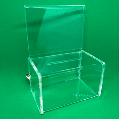Acrylic Charity Collection Box with Signholder and Lock Quick Ship