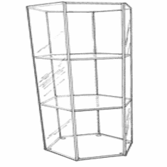 Acrylic Hexagonal Open 2 Shelf Small Display