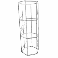 Acrylic Hexagonal Open 2 Shelf Tall Display