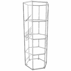 Acrylic Hexagonal Open 3 Shelf Display