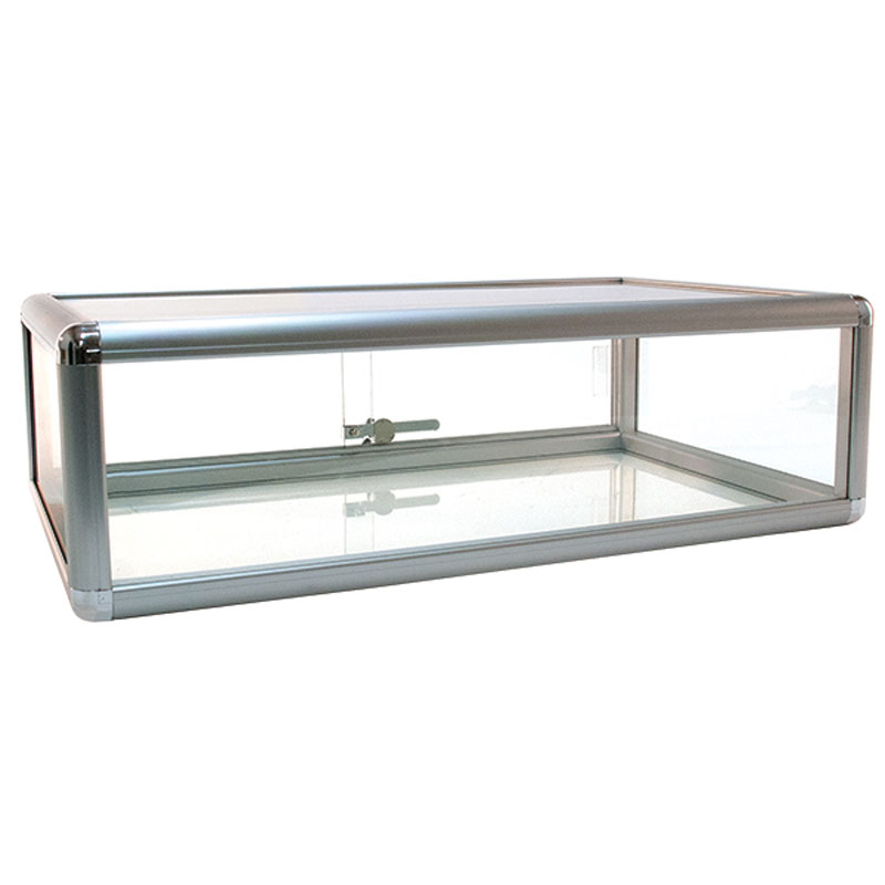 14Lx12Wx27H New Aluminum Frame Silver Finish Countertop Showcase