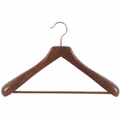 Deluxe Wooden Suit Hanger with Non-Slip Pant Bar (Box of 24)