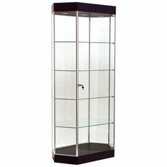 Elongated Hexagon Tower Display Case Black