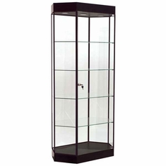 Elongated Hexagon Tower Display Case Black with Black Frame