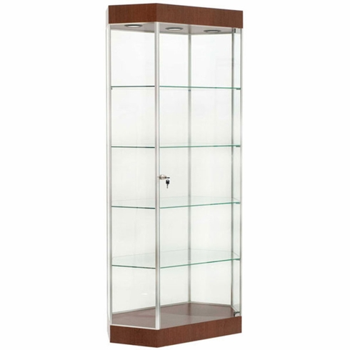 Elongated Hexagon Tower Display Case Cherry