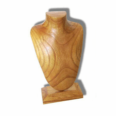 Elongated Wood Jewelry Bust Natural