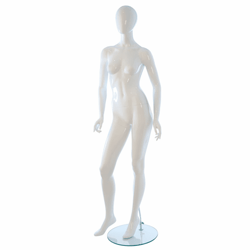Eve Female Mannequin - Oval Head, Arms Slightly Bent, Turned at Waist, Right Leg Forward