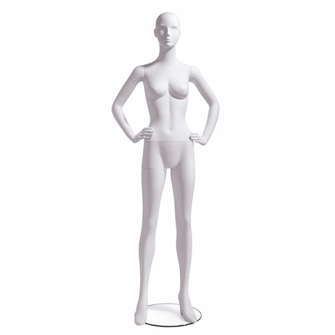 Female Mannequin Abstract Head Facing Straight, Hands on Hip