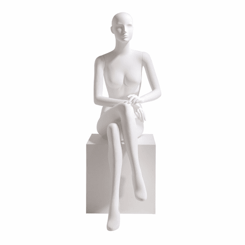 Female Mannequin Abstract Head Facing Straight, Seated, Right Leg over Left, Hands in Lap