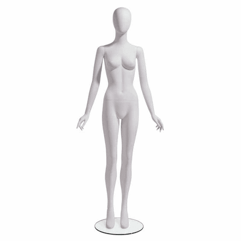 Female Mannequin Oval Head facing straight, Arms at Side