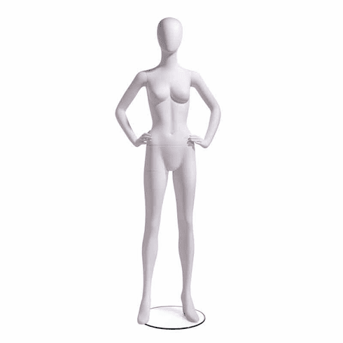 Female Mannequin Oval Head Facing Straight, Hands on Hips