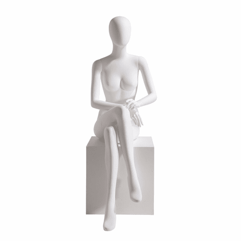 Female Mannequin Oval Head Facing Straight, Seated, Right Leg Over Left, Hands in Lap