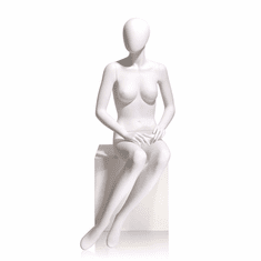 Female Mannequin Oval head, Hands on Lap, Seated