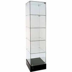Frameless Glass Square Tower Display Case 18""