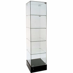 "Frameless Glass Tower Display Showcase 18"" Square"