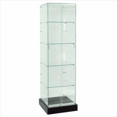 Frameless Glass Square Tower Display Case 20""