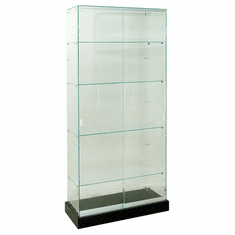 "Frameless Glass Tower Display Case 36"" Wide"